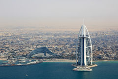 Dubai Burj Al Arab Jumeirah Beach Hotel aerial view photography Stock Photography
