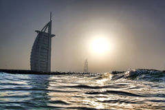 Dubai with Burj Al Arab is a luxury 5 star hotel, United Arab Emirates Stock Photo