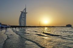 Dubai with Burj Al Arab is a luxury 5 star hotel, United Arab Emirates Royalty Free Stock Images