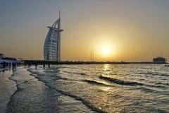 Dubai with Burj Al Arab is a luxury 5 star hotel, United Arab Emirates Royalty Free Stock Images