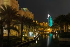 Dubai Burj al Arab from Madinat Jumeirah Royalty Free Stock Photos
