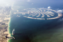 Dubai Burj al Arab and the Palm. Dubai aerial view with the famous Hotel Burj al Arab and the island the Palm