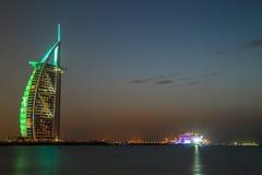 Dubai Burj al Arab - 5 stars hotel. Burj Al Arab is a luxury hotel located in Dubai, United Arab Emirates. It is The worlds only 7 star Hotel since 1999. At 321 Stock Photography