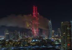 Dubai Burj Khalifa New Year 2016 Feuerwerke Lizenzfreie Stockfotografie