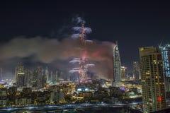 Dubai Burj Khalifa New Year 2016 Feuerwerke Stockfotografie
