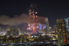 Dubai Burj Khalifa New Year 2016 Feuerwerke Stockfotos