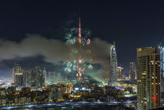 Dubai Burj Khalifa New Year 2016 fireworks Royalty Free Stock Images