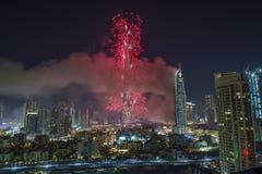 Dubai Burj Khalifa New Year 2016 fogos-de-artifício Fotos de Stock Royalty Free