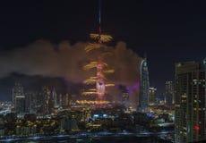 Dubai Burj Khalifa New Year 2016 fuegos artificiales Fotografía de archivo libre de regalías