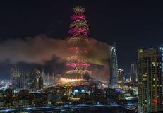 Dubai Burj Khalifa New Year 2016 fuegos artificiales Imagen de archivo