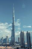 Dubai Burj Khalifa retro filter applied Royalty Free Stock Photography