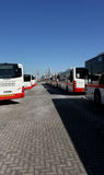 Dubai Buses lined up in Parking Stock Images