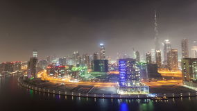 Dubai Business Bay at night stock video