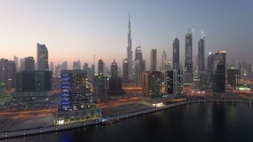 Dubai Business Bay skyline stock footage