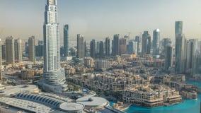 Dubai céntrico durante timelapse de la puesta del sol Visión superior desde arriba almacen de video