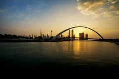 Dubai Canal. A view of Dubai Canal and Dubai Skyline Royalty Free Stock Photos