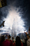 Dubai celebrating the hosting of Expo 2020. NOV 26 -DUBAI, UAE: Pyrotechnical show and electronic banner welcomed the winning of DUBAI candidature to  host the Royalty Free Stock Photos