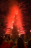 Dubai celebrating the hosting of Expo 2020. NOV 26 -DUBAI, UAE: Pyrotechnical show and electronic banner welcomed the winning of DUBAI candidature to  host the Royalty Free Stock Photography
