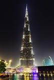 Dubai centrum och Burj Khalifa på natten Arkivfoton