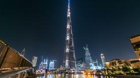 Dubai centrum och Burj Khalifa timelapse i Dubai, UAE