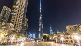 Dubai centrum och Burj Khalifa timelapsehyperlapse i Dubai, UAE