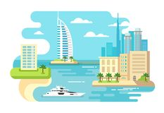 Dubai City Beach Skyline Stock Images