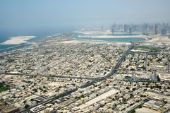 Dubai city from bird's eye view Royalty Free Stock Photos