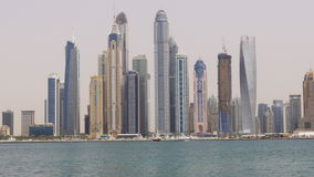 Dubai city day light famous beach bay buildings panorama 4k uae stock video footage