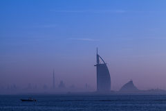Dubai city. An early morning misty day view of Dubai city from Palm Jumerirah Stock Images