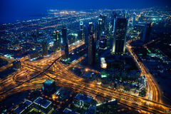 Dubai city evening view. Dubai city evening. View from Dubai's tower 124th floor Royalty Free Stock Photos