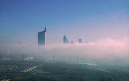 Dubai city fog in the morning Stock Photography