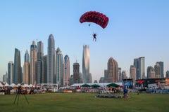 Dubai city fun parachuting activities, Tourist attractions at Dubai Marina.  royalty free stock photos