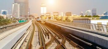 Dubai city Lines Metro. Dubai Metro Network line on the city urban landscape UAE, architecture subway systems stock images