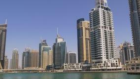 Dubai city marina bay panorama sunny day 4k uae. Uae dubai city marina bay panorama sunny day 4k stock video footage