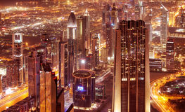Dubai city at night Stock Images