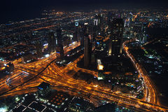 Dubai city at night from the Burj Khalifa Stock Photo
