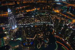 Dubai city at night from the burj khalifa Royalty Free Stock Photo