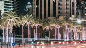Dubai city night illumination traffic road junction 4k timelapse uae stock video footage