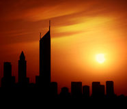 Dubai city at night Sheikh Zayed road at sunset Stock Photos