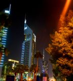 Dubai city night view of business buildings Royalty Free Stock Photography