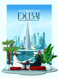 Dubai City Poster With Burj Khalifa And Royalty Free Stock Photo