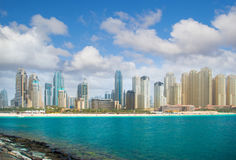 Dubai city and sea Royalty Free Stock Images