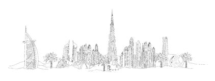 DUBAI city sketch illustration Royalty Free Stock Images