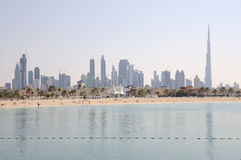 Dubai City Skyline. Jumeirah Beach Park in Foreground. United Arab Emirates Royalty Free Stock Photo