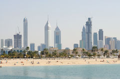 Dubai City Skyline. Jumeirah Beach Park in Foreground. United Arab Emirates Royalty Free Stock Image
