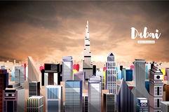 Dubai City Skyline. Aerial View. Royalty Free Illustration