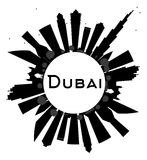 Dubai City skyline black and white silhouette and copy space. Royalty Free Stock Image