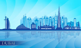 Dubai city skyline detailed silhouette Royalty Free Stock Images