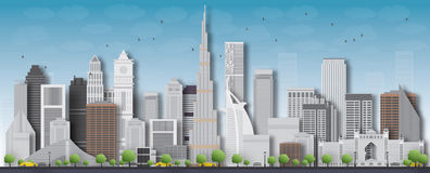 Dubai City skyline detailed silhouette. Vector illustration. Royalty Free Stock Images