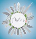 Dubai City Skyline with Gray Skyscrapers, Blue Sky and Copy Spac Royalty Free Stock Photos